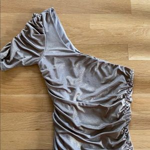 Gold Metallic One Shoulder Dress